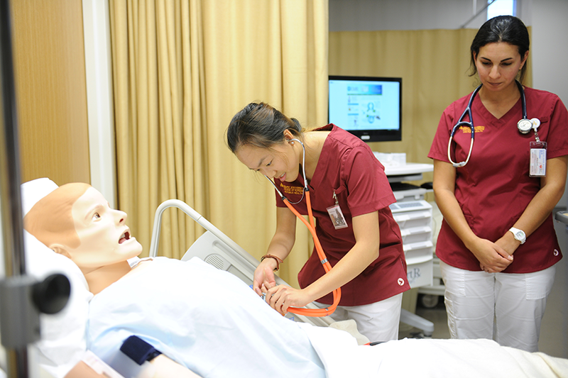Adelphi nursing student checks vitals on sim man